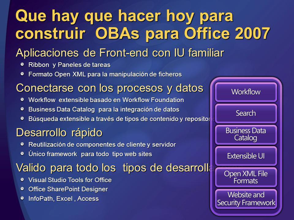 Que hay que hacer hoy para construir OBAs para Office 2007