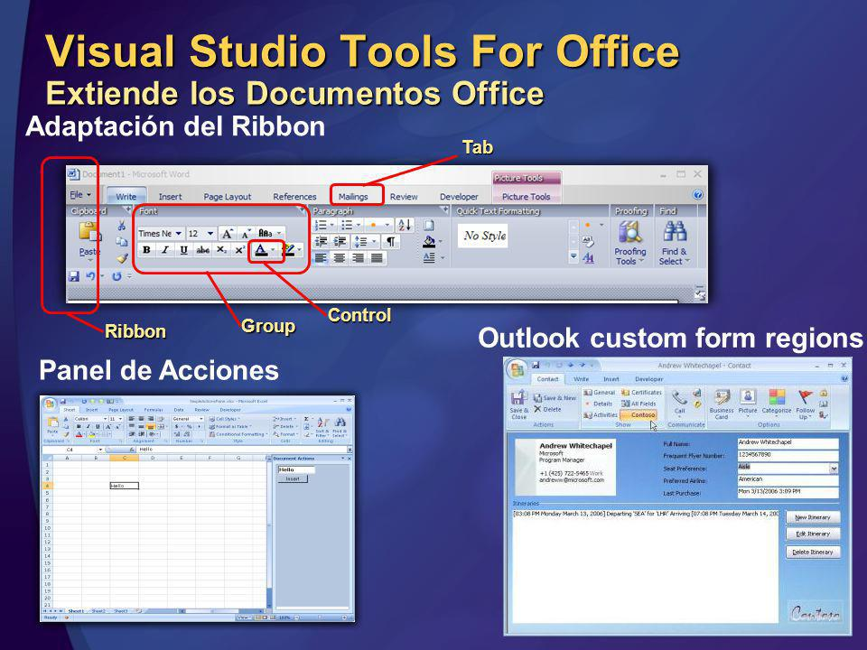 Visual Studio Tools For Office Extiende los Documentos Office