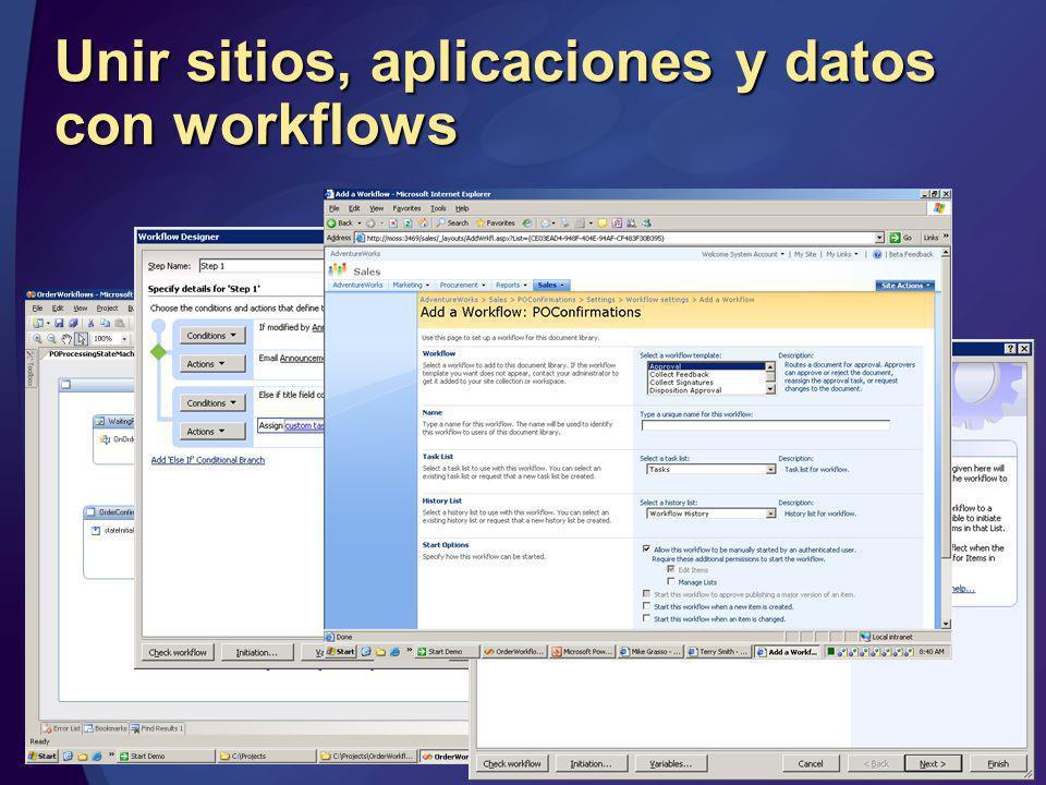 Unir sitios, aplicaciones y datos con workflows