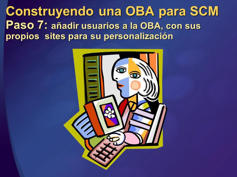 MGB 2003 Construyendo una OBA para SCM Paso 7: añadir usuarios a la OBA, con sus propios sites para su personalización.