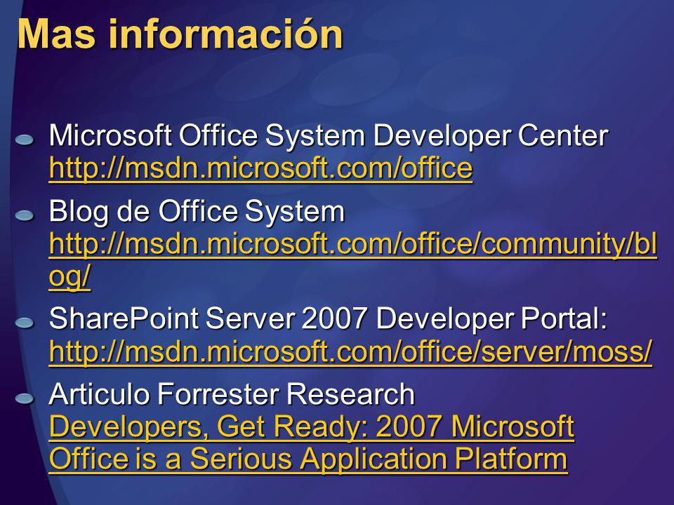 MGB 2003 Mas información. Microsoft Office System Developer Center http://msdn.microsoft.com/office.