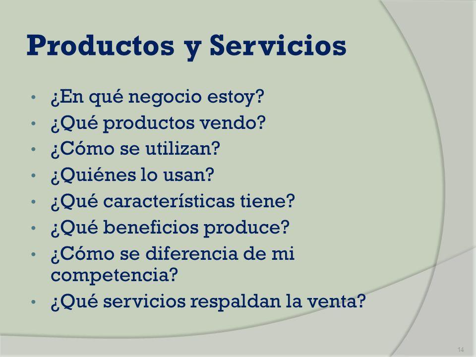 Productos y Servicios ¿En qué negocio estoy ¿Qué productos vendo