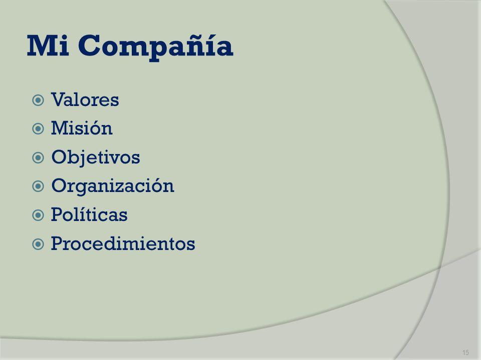 Mi Compañía Valores Misión Objetivos Organización Políticas