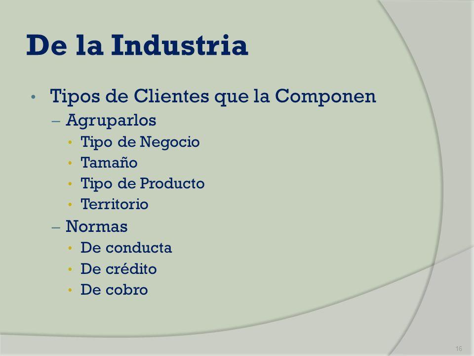 De la Industria Tipos de Clientes que la Componen Agruparlos Normas
