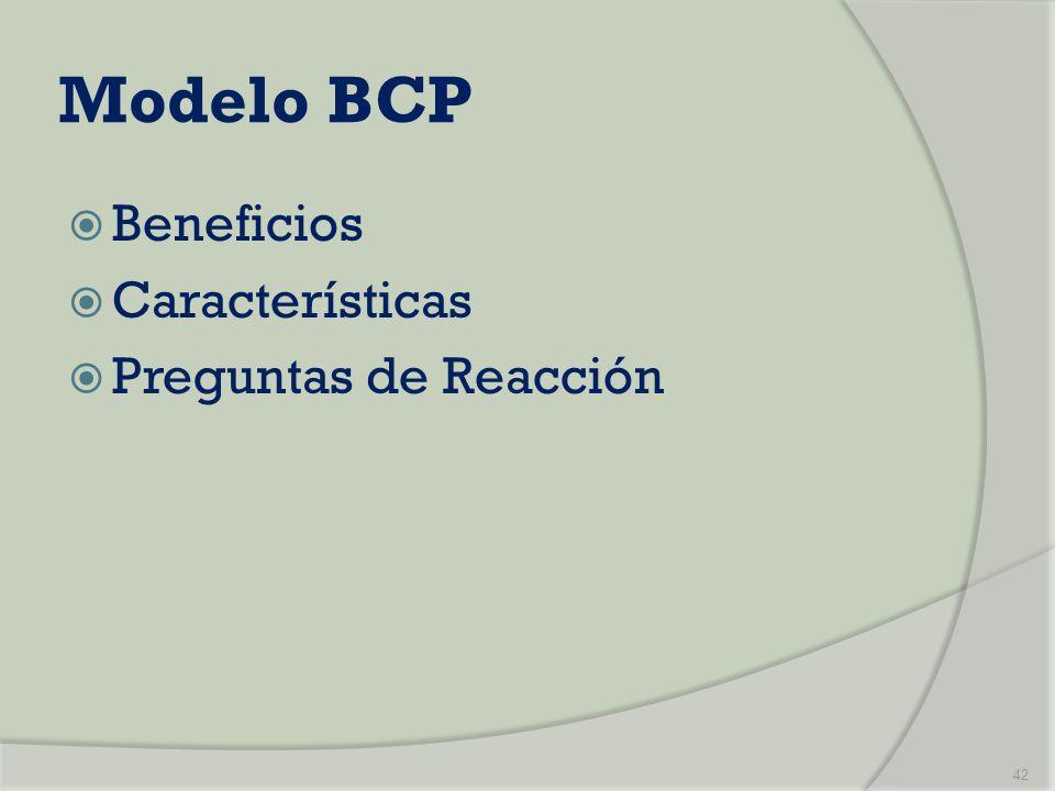 Modelo BCP Beneficios Características Preguntas de Reacción