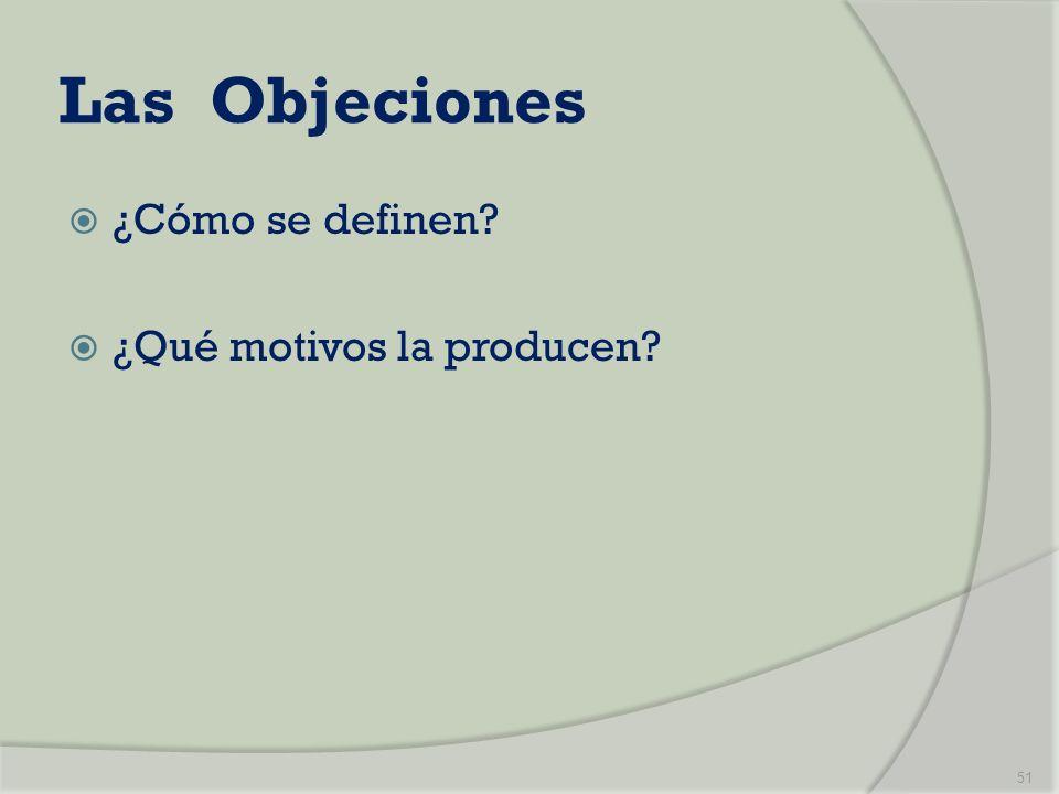 Las Objeciones ¿Cómo se definen ¿Qué motivos la producen