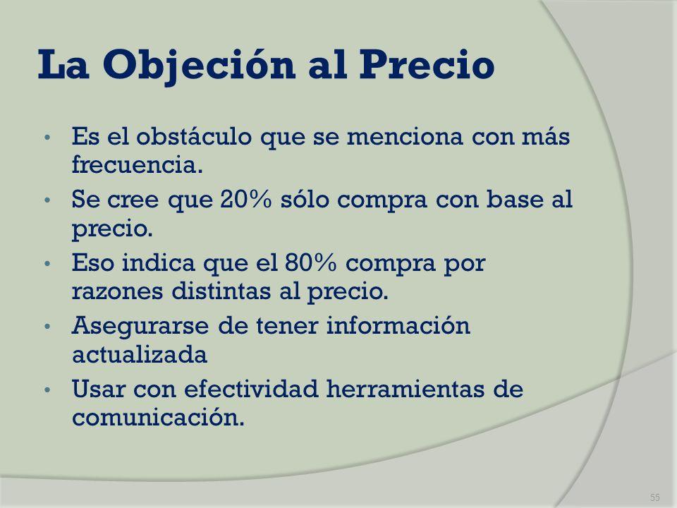 La Objeción al PrecioEs el obstáculo que se menciona con más frecuencia. Se cree que 20% sólo compra con base al precio.