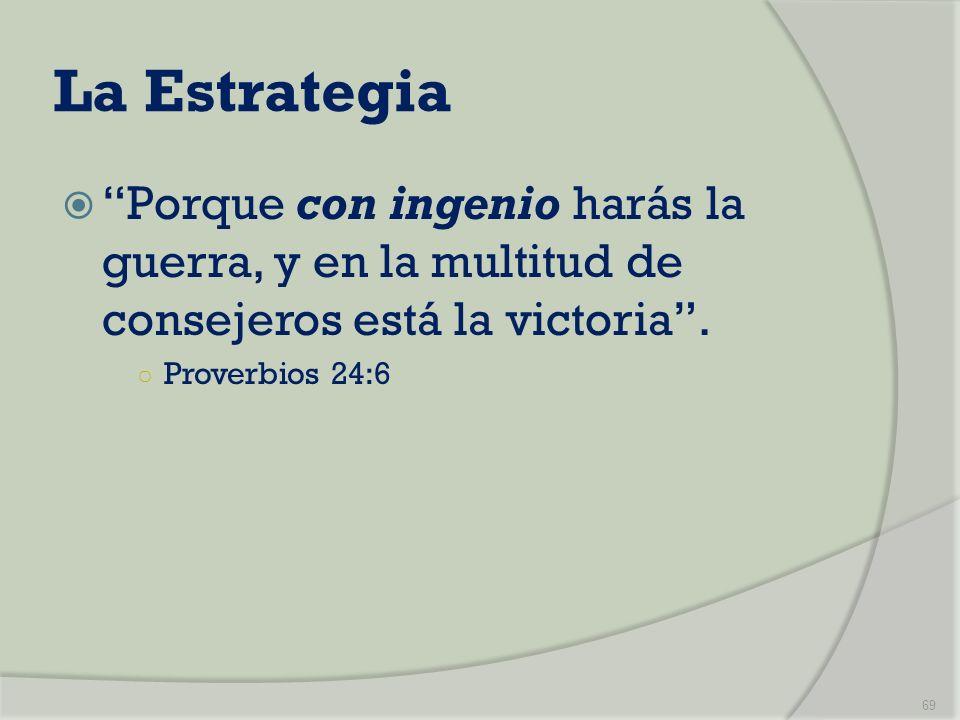 La Estrategia Porque con ingenio harás la guerra, y en la multitud de consejeros está la victoria .