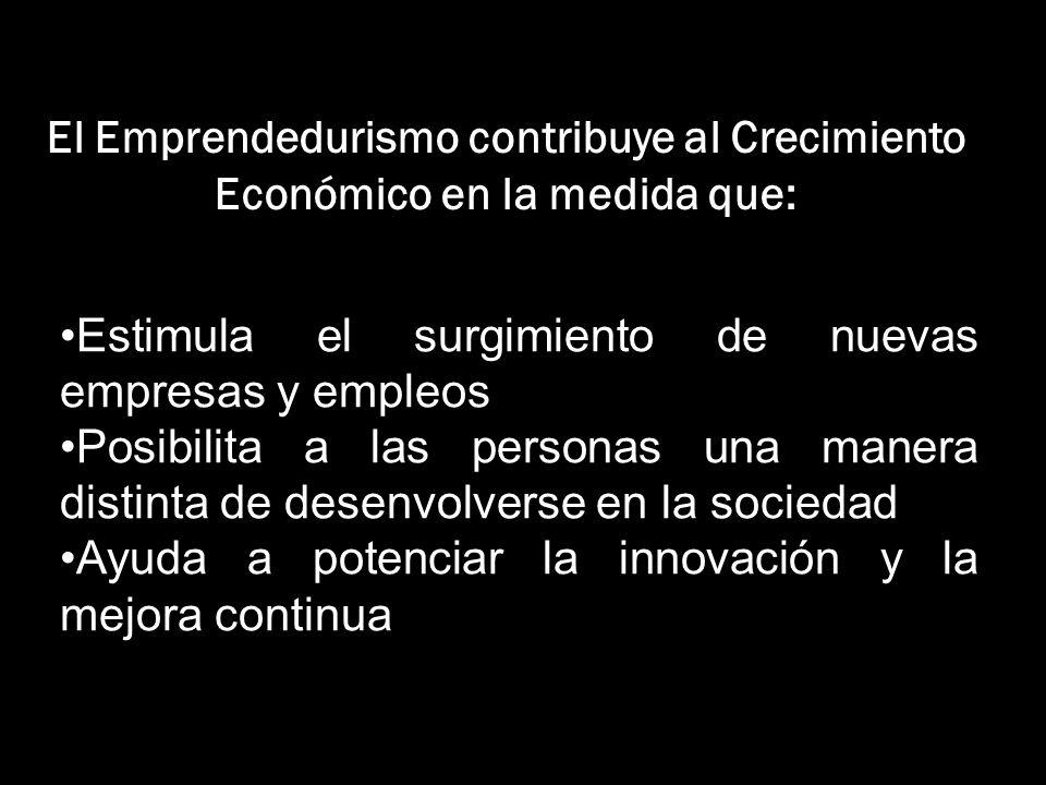 El Emprendedurismo contribuye al Crecimiento Económico en la medida que: