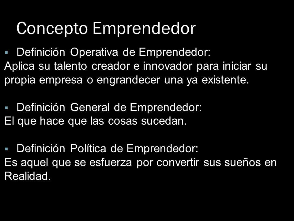 Concepto Emprendedor Definición Operativa de Emprendedor: