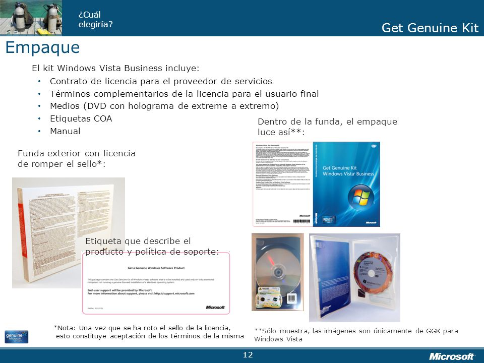 Empaque El kit Windows Vista Business incluye: