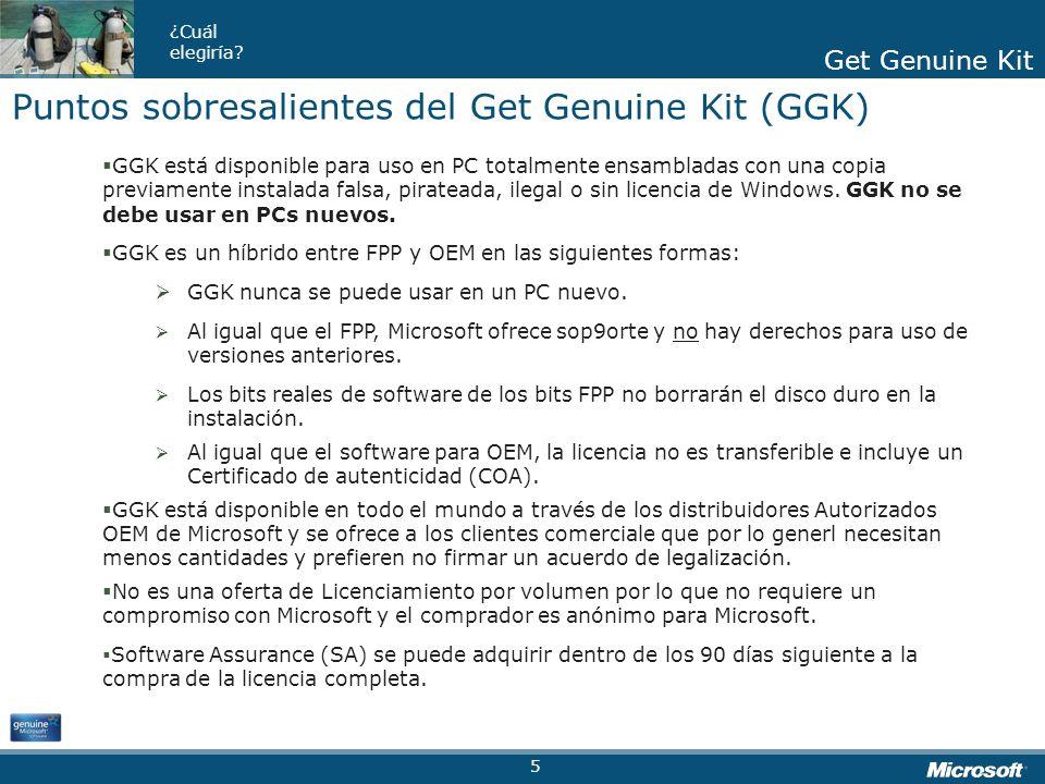 Puntos sobresalientes del Get Genuine Kit (GGK)