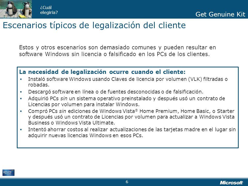 Escenarios típicos de legalización del cliente