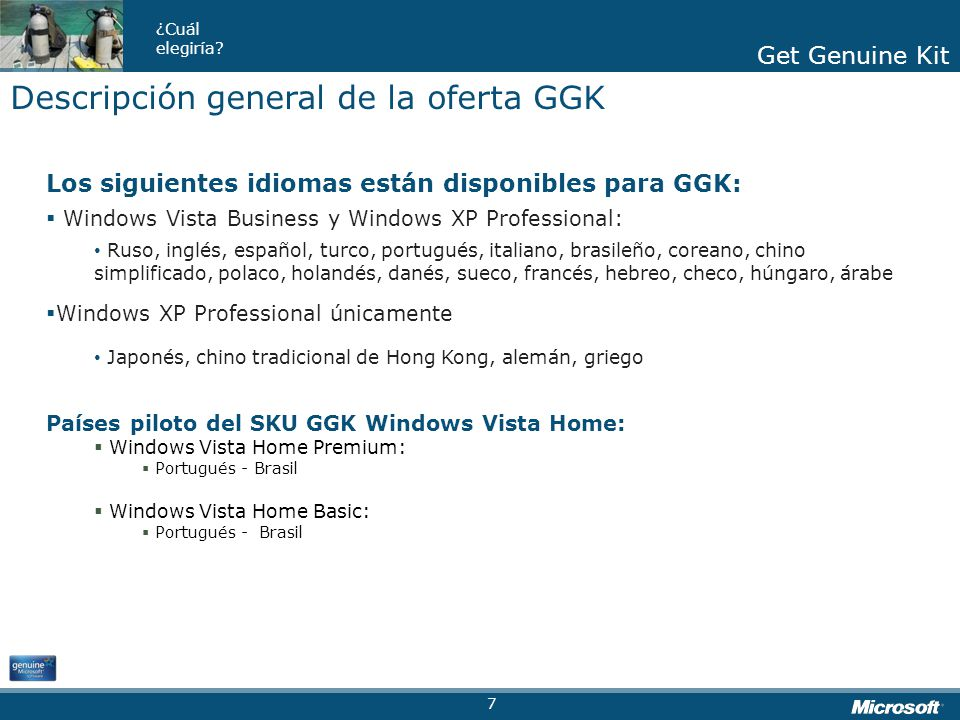 Descripción general de la oferta GGK