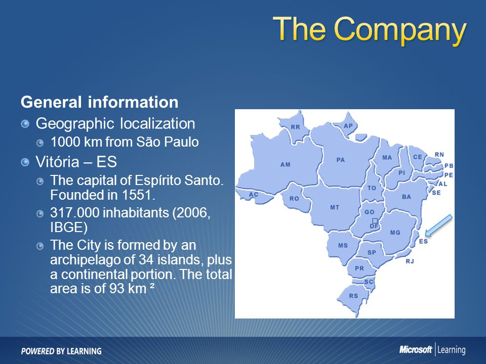 The Company General information Geographic localization Vitória – ES
