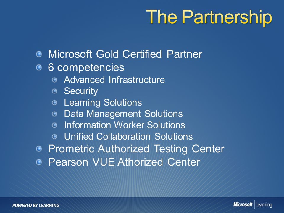 The Partnership Microsoft Gold Certified Partner 6 competencies