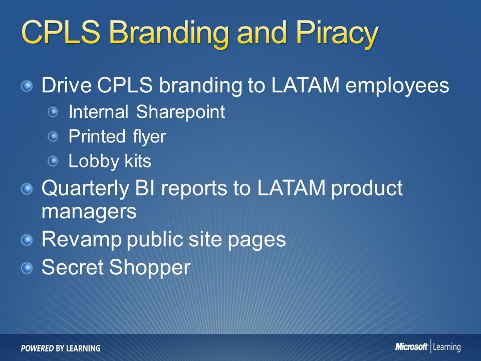 CPLS Branding and Piracy