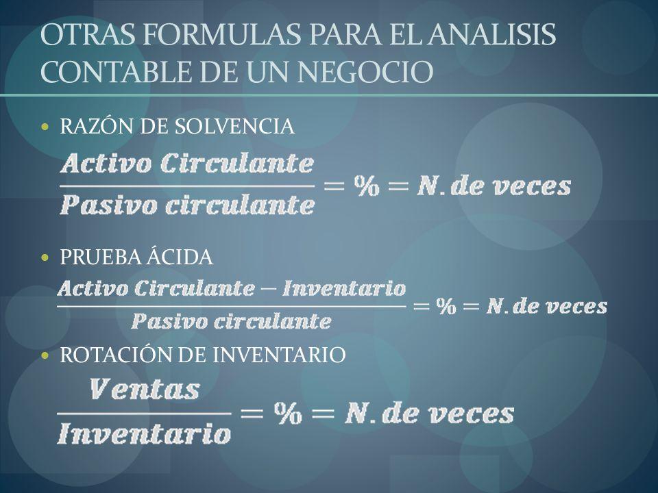 OTRAS FORMULAS PARA EL ANALISIS CONTABLE DE UN NEGOCIO