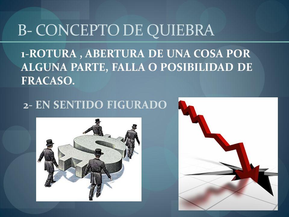 B- CONCEPTO DE QUIEBRA 1-ROTURA , ABERTURA DE UNA COSA POR ALGUNA PARTE, FALLA O POSIBILIDAD DE FRACASO.