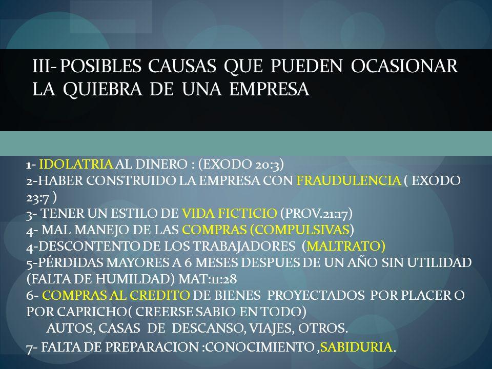 III- POSIBLES CAUSAS QUE PUEDEN OCASIONAR LA QUIEBRA DE UNA EMPRESA