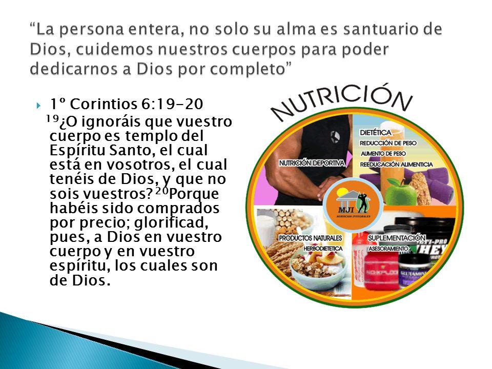 La persona entera, no solo su alma es santuario de Dios, cuidemos nuestros cuerpos para poder dedicarnos a Dios por completo