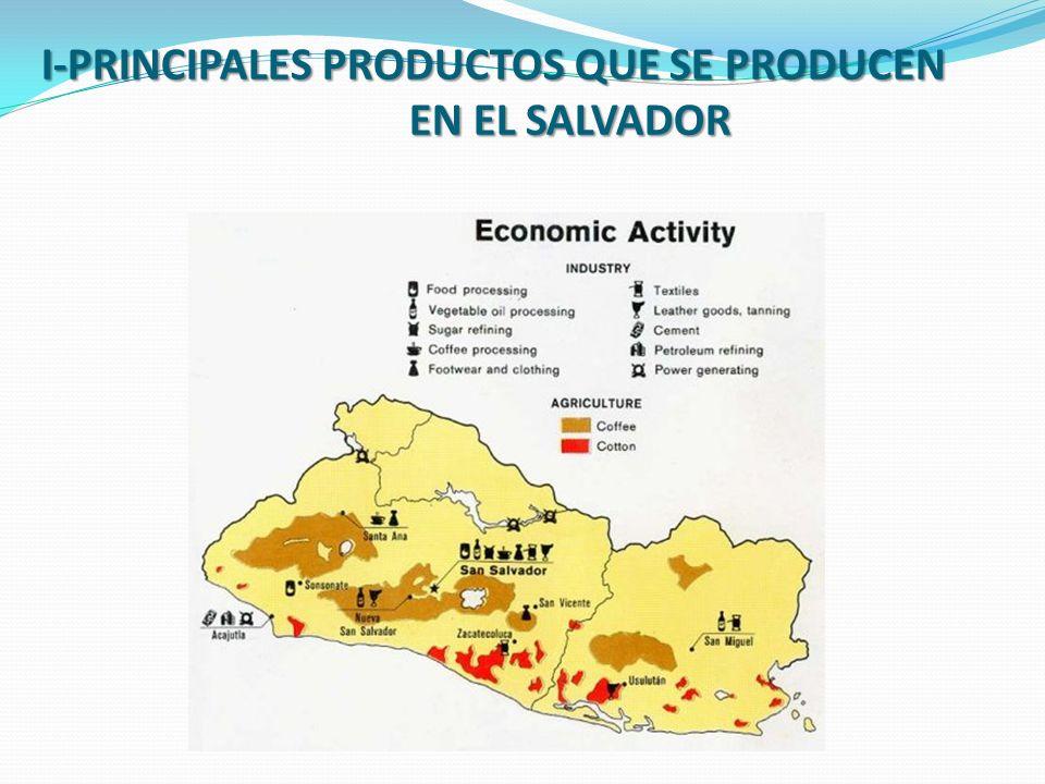 I-PRINCIPALES PRODUCTOS QUE SE PRODUCEN EN EL SALVADOR