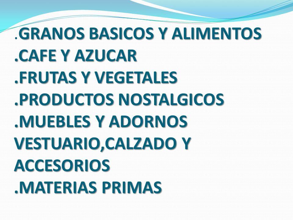GRANOS BASICOS Y ALIMENTOS. CAFE Y AZUCAR. FRUTAS Y VEGETALES