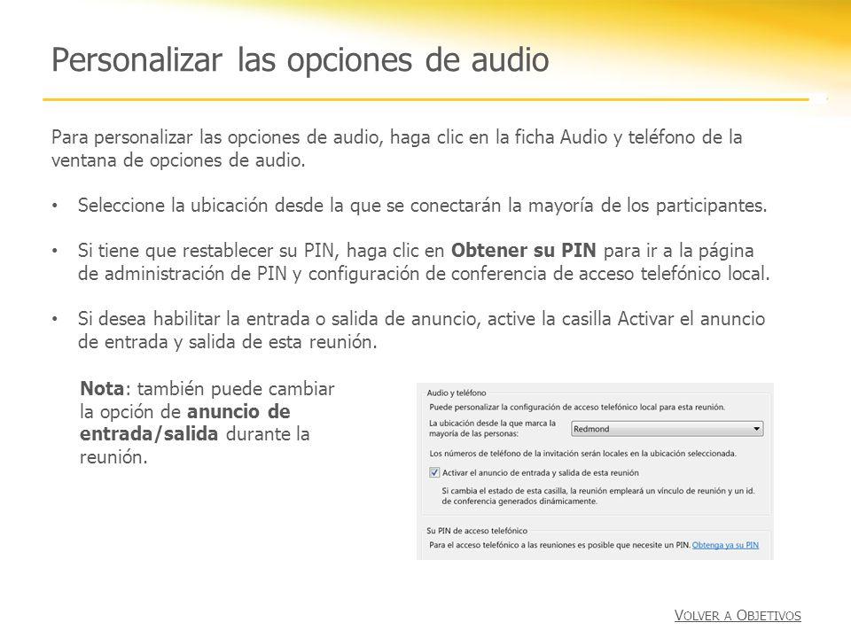 Personalizar las opciones de audio