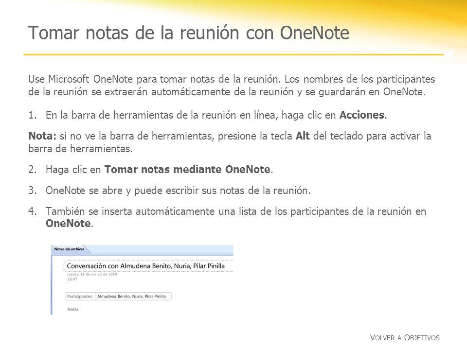 Tomar notas de la reunión con OneNote