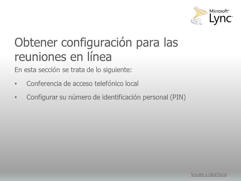Obtener configuración para las reuniones en línea