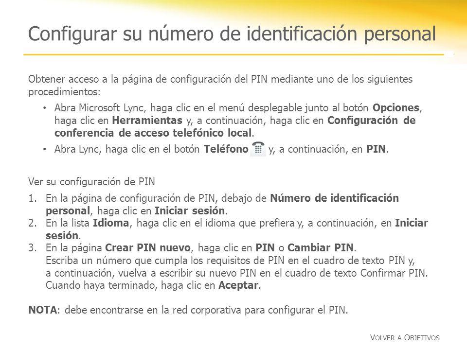Configurar su número de identificación personal