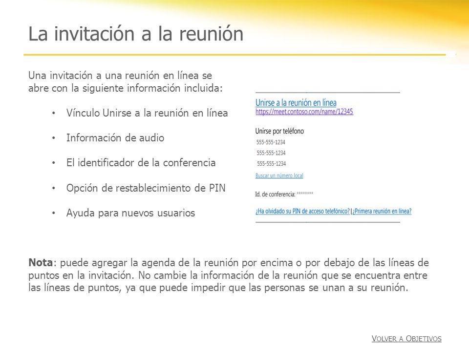 La invitación a la reunión
