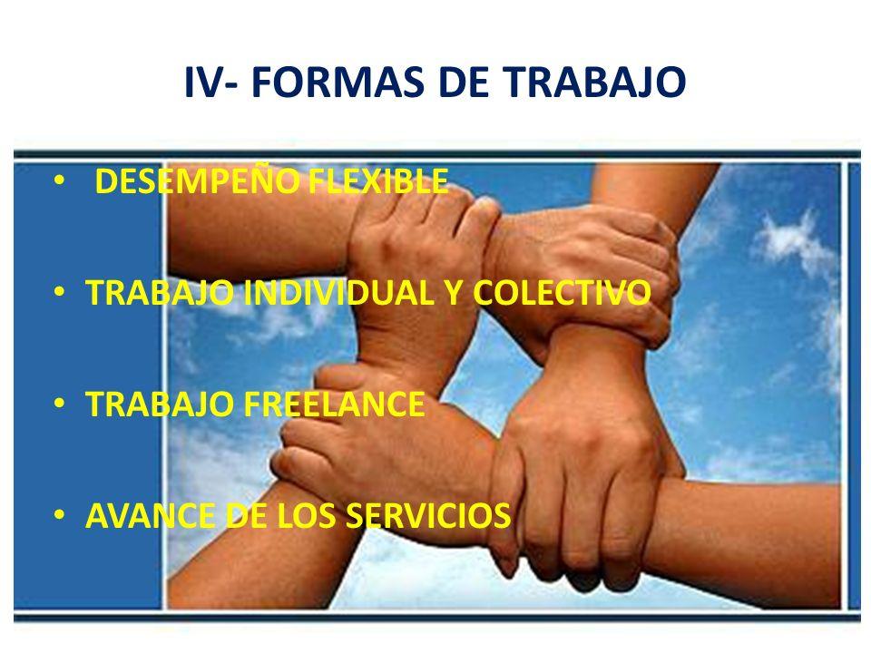 IV- FORMAS DE TRABAJO DESEMPEÑO FLEXIBLE
