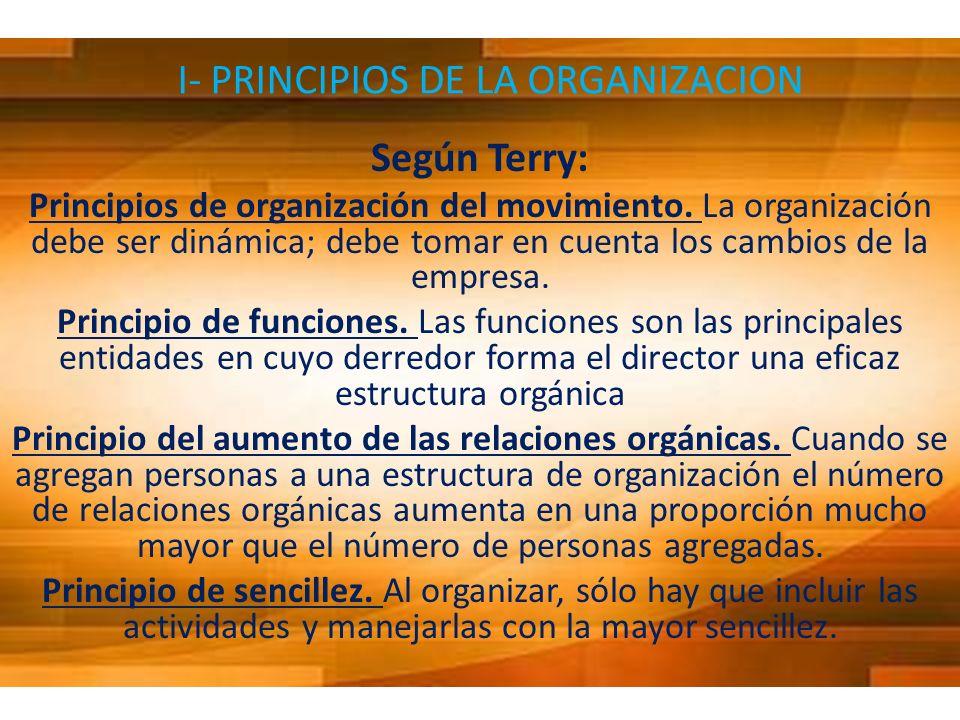 I- PRINCIPIOS DE LA ORGANIZACION