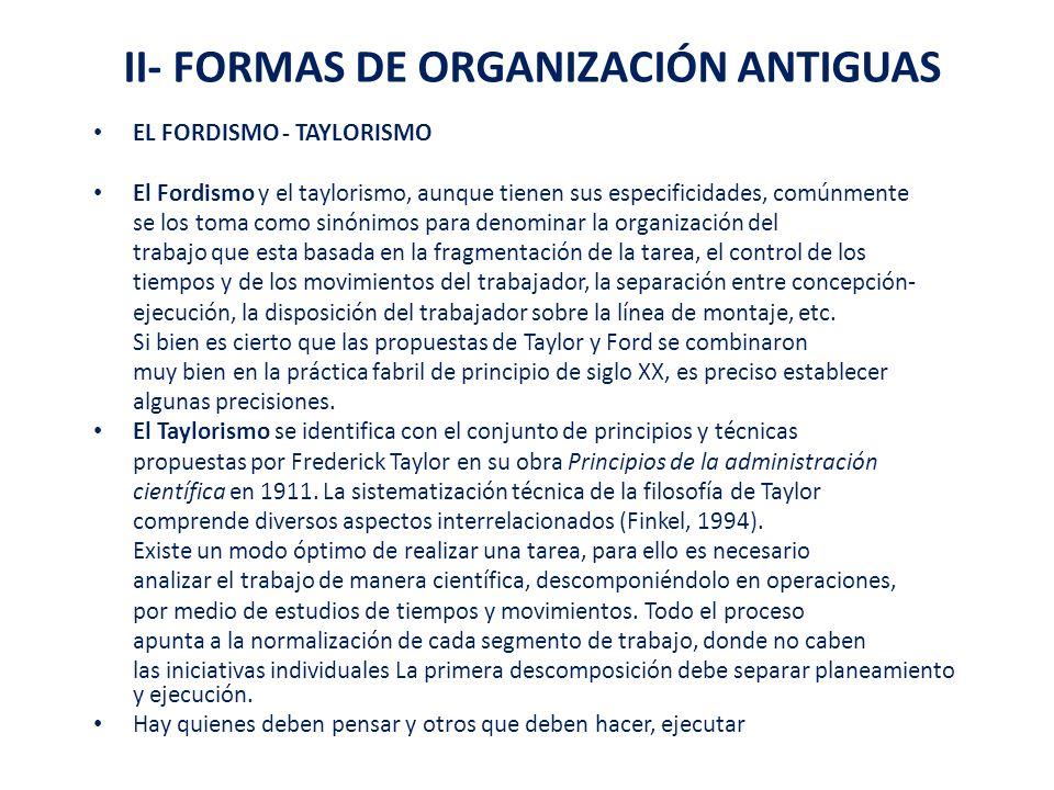 II- FORMAS DE ORGANIZACIÓN ANTIGUAS