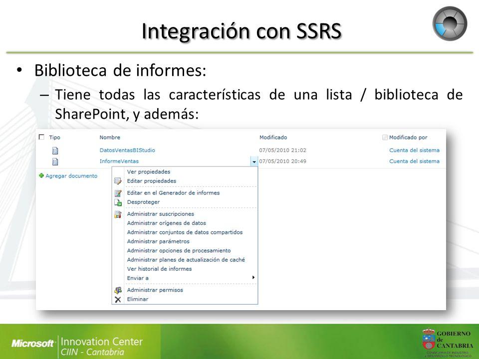 Integración con SSRS Biblioteca de informes: