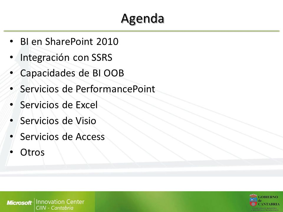 Agenda BI en SharePoint 2010 Integración con SSRS