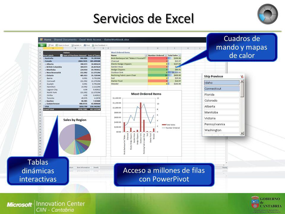 Servicios de Excel Cuadros de mando y mapas de calor