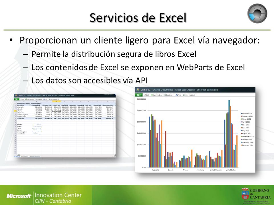 Servicios de Excel Proporcionan un cliente ligero para Excel vía navegador: Permite la distribución segura de libros Excel.