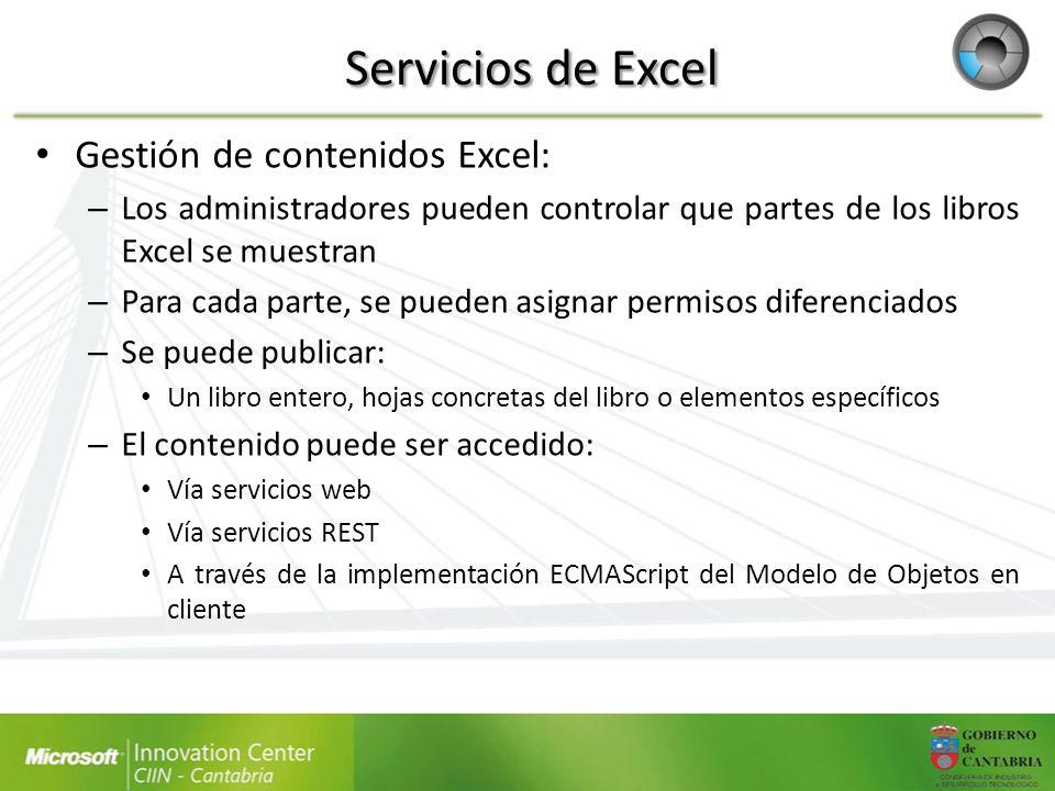 Servicios de Excel Gestión de contenidos Excel: