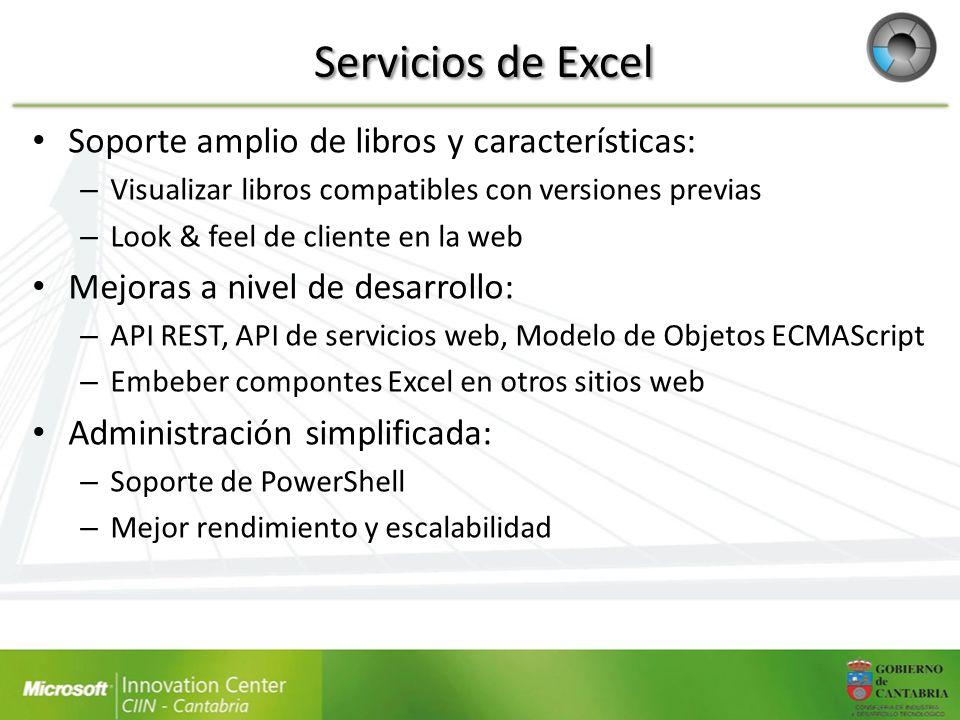 Servicios de Excel Soporte amplio de libros y características: