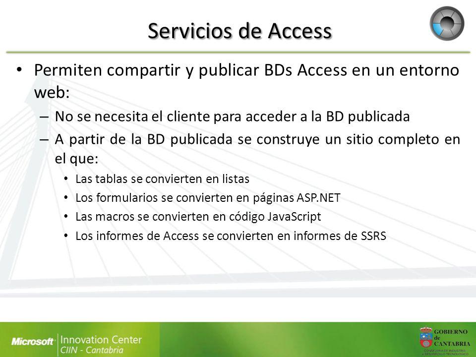 Servicios de Access Permiten compartir y publicar BDs Access en un entorno web: No se necesita el cliente para acceder a la BD publicada.