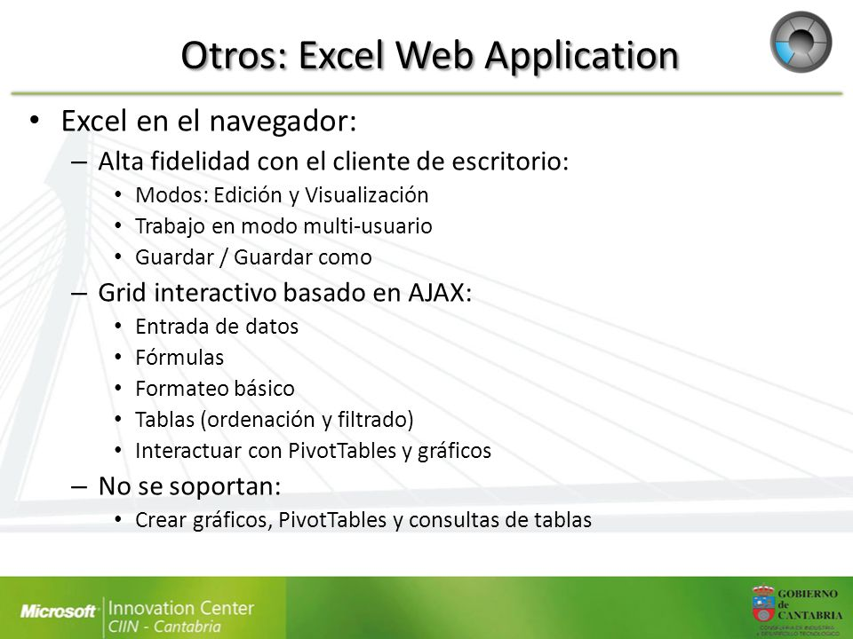 Otros: Excel Web Application