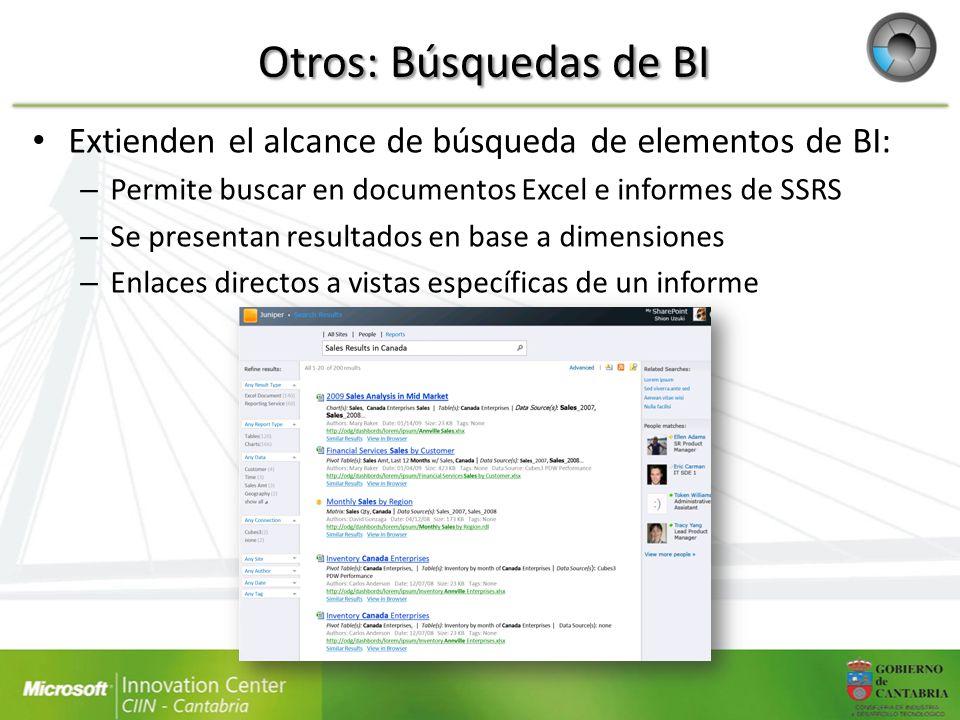 Otros: Búsquedas de BI Extienden el alcance de búsqueda de elementos de BI: Permite buscar en documentos Excel e informes de SSRS.