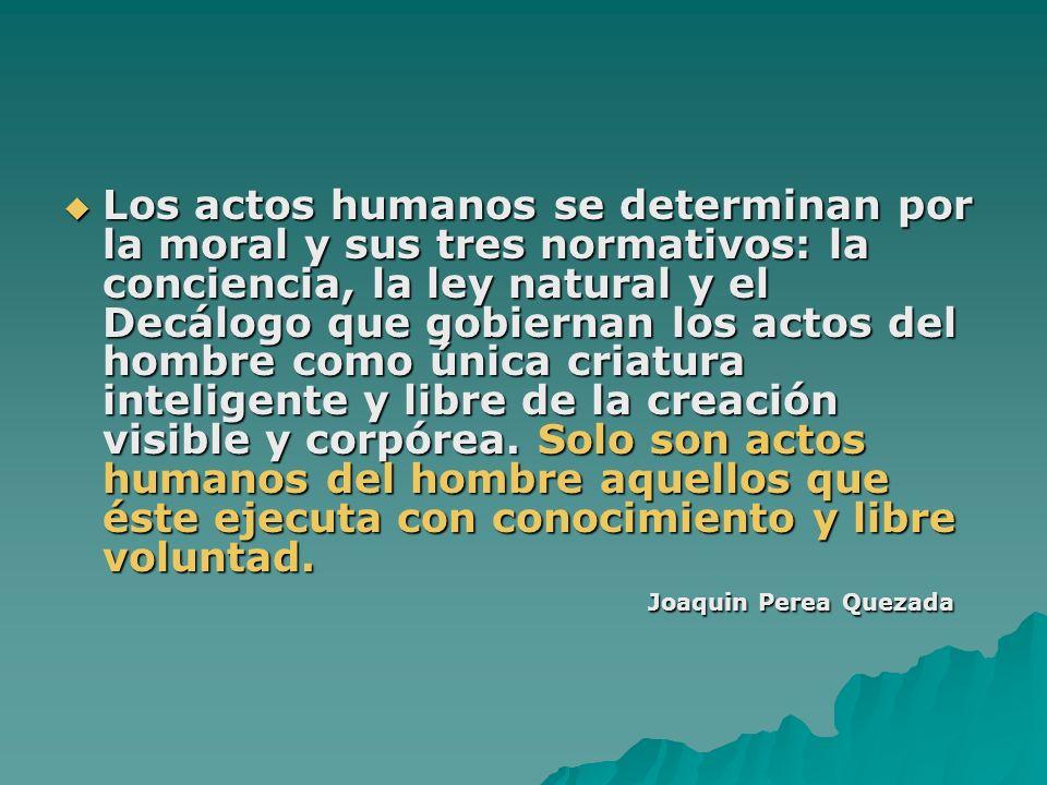 Los actos humanos se determinan por la moral y sus tres normativos: la conciencia, la ley natural y el Decálogo que gobiernan los actos del hombre como única criatura inteligente y libre de la creación visible y corpórea.