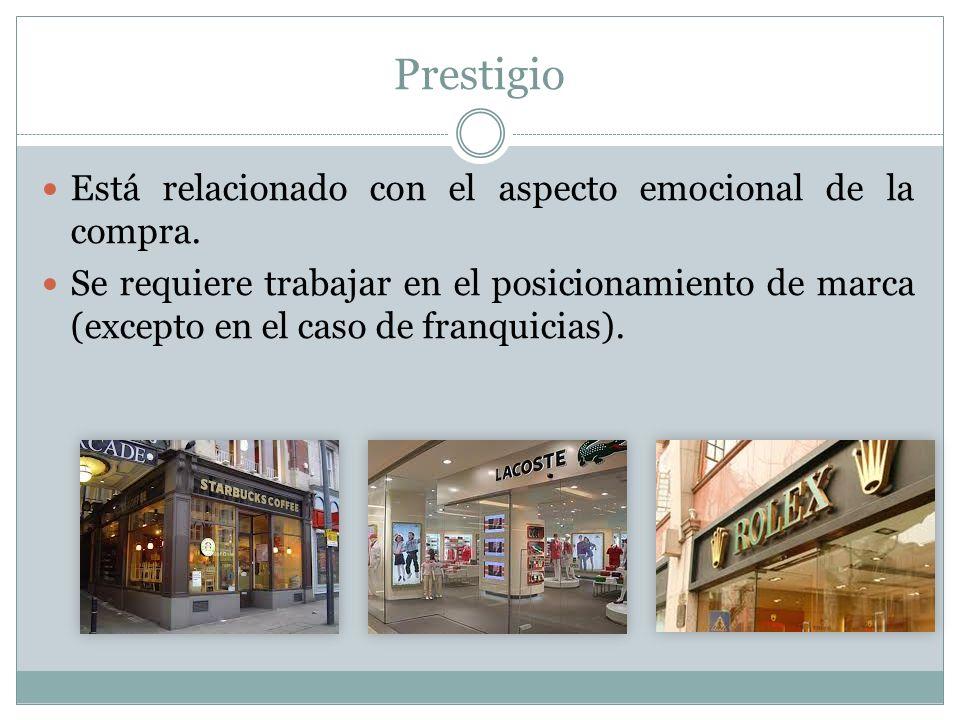 Prestigio Está relacionado con el aspecto emocional de la compra.