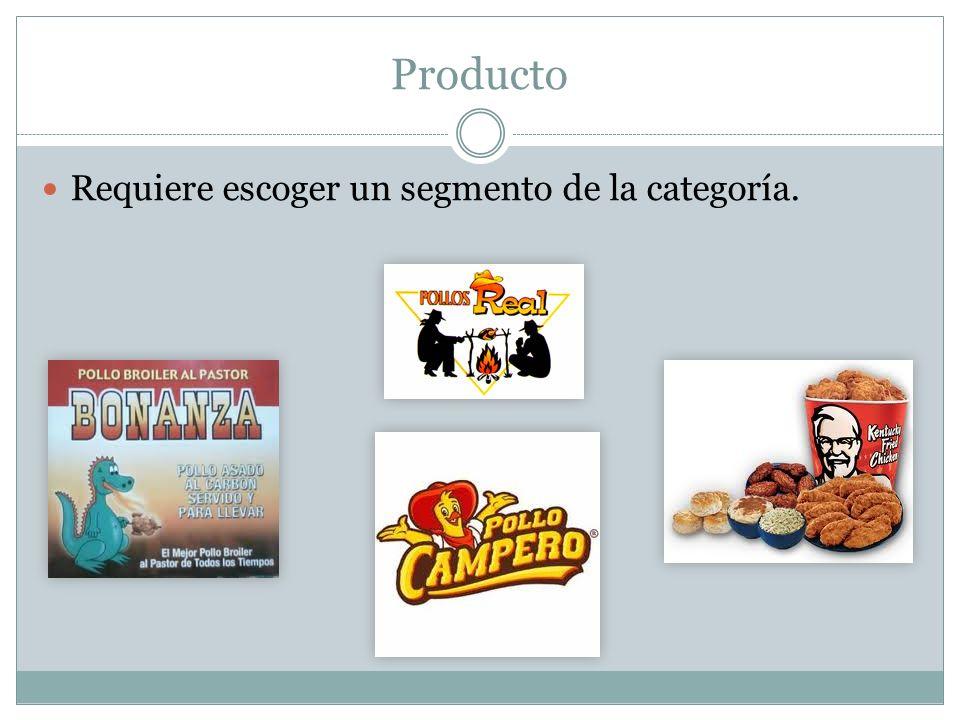 Producto Requiere escoger un segmento de la categoría.