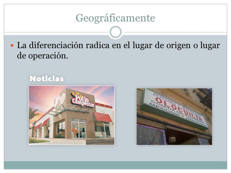 Geográficamente La diferenciación radica en el lugar de origen o lugar de operación.