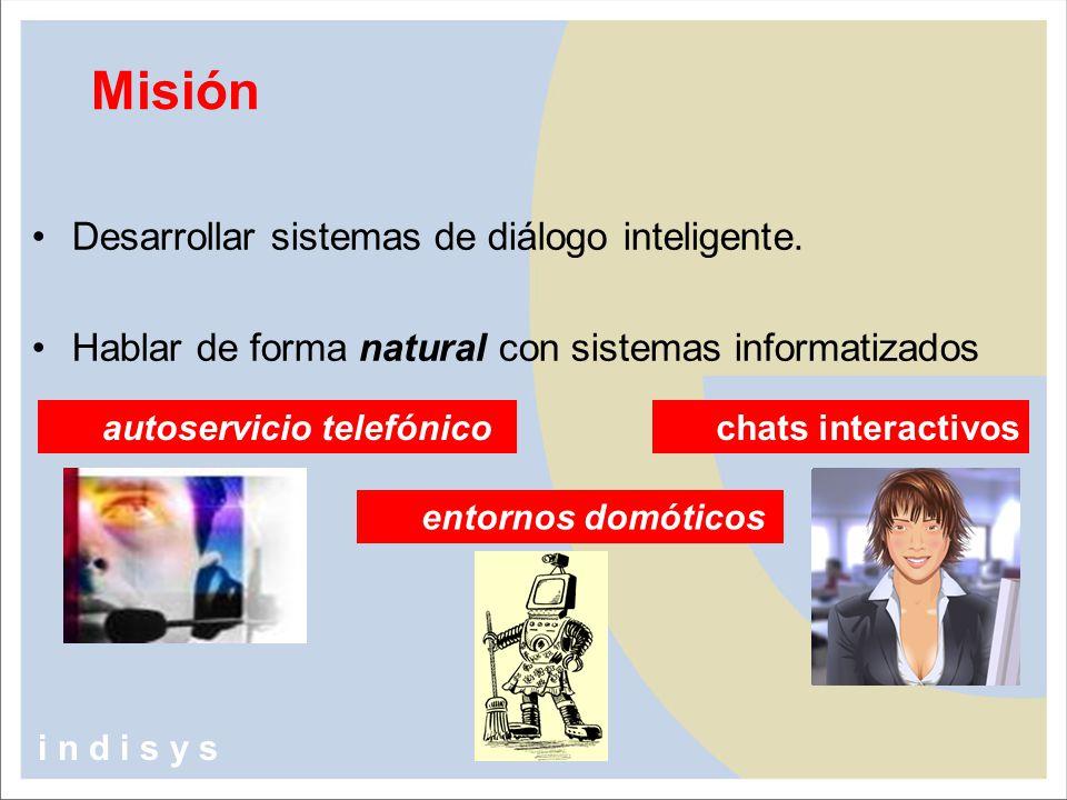 Misión Desarrollar sistemas de diálogo inteligente.