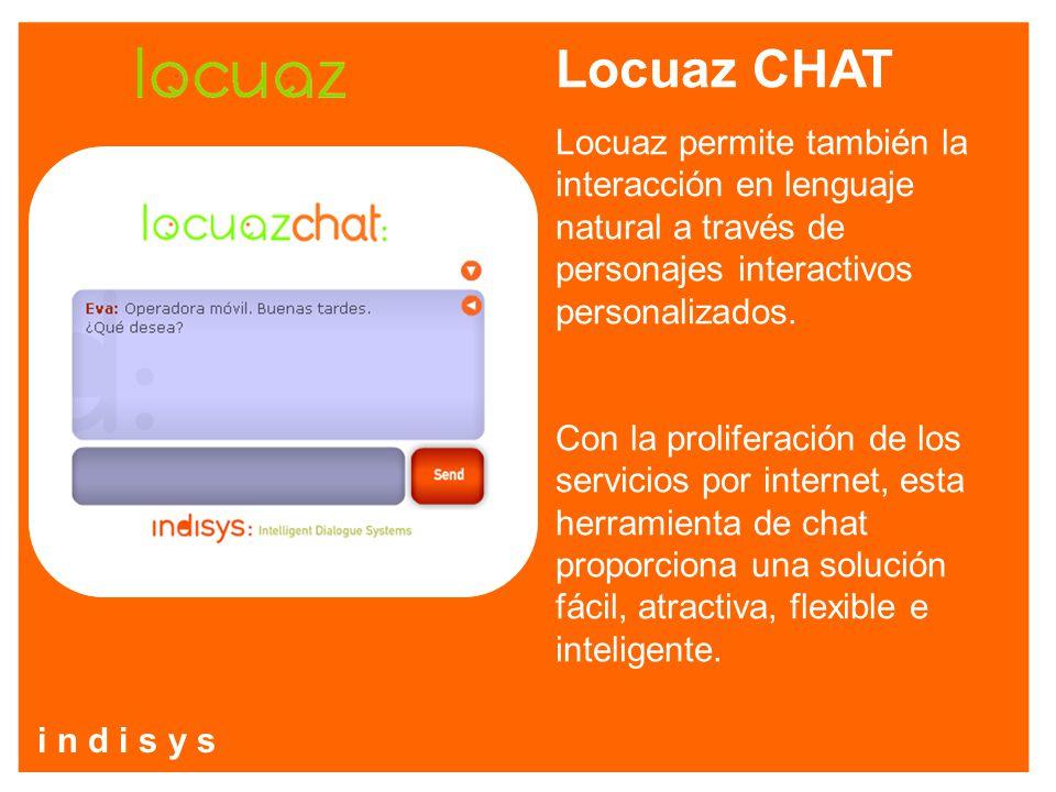 Locuaz CHAT Locuaz permite también la interacción en lenguaje natural a través de personajes interactivos personalizados.